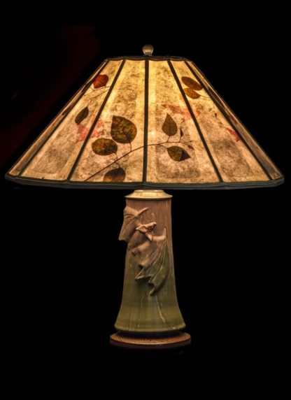 T350 Door Pottery Bats! Table Lamp, 12-panel Mica Lamp Shade with Natural Eucalyptus Leaves, hand-cut bats and grey liner