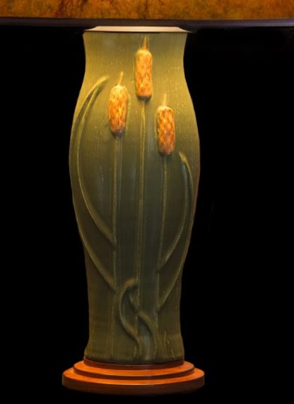 T351 Door Pottery Green glaze Table Lamp base with Cattails, lamp base detail