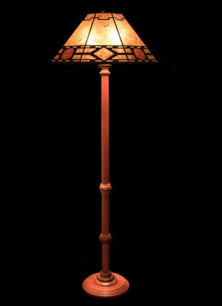 "F353 Turned Bubinga Standing Lamp, Mica Octagon with ""Caballero"" Design"