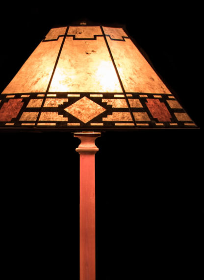 "F353 Turned Bubinga Standing Lamp, Mica Octagon with ""Caballero"" Design shade detail"