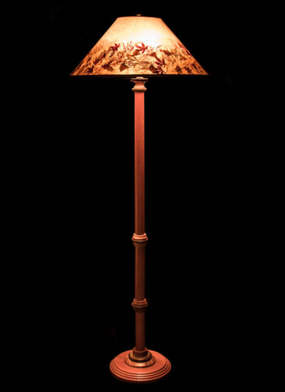 F355 Bubinga Pole Lamp, Round Mica Lamp Shade with Natural Leaves
