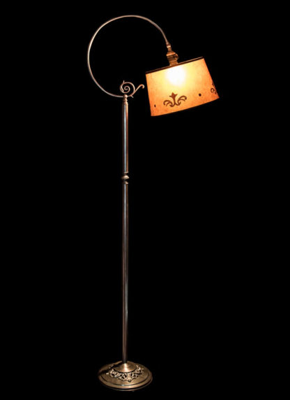 "F356 ""Big Loop"" Bridge Lamp, Round Amber Mica Lampshade"