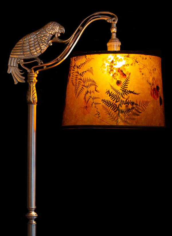 Parrot Bridge Lamp With Amber Mica Lamp Shade Sue Johnson