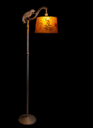 F360 Parrot Bridge Floor Lamp with Amber Mica Lamp Shade