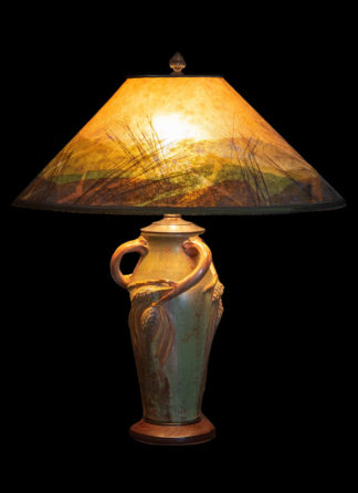Pine Table Lamp and Mica Lampshade
