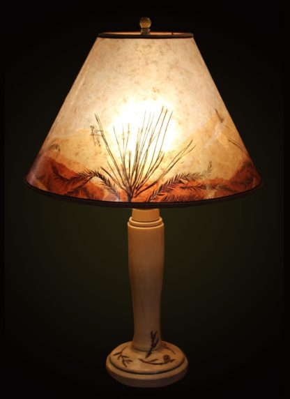 T361 Spalted Maple table lamp, mica lampshade with pine and fir needles