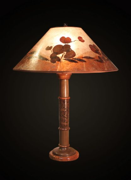 T362 Hand-turned Walnut and Banksia Pod Lamp by Bill Jabas, Round Mica Lampshade with Color Border and Natural Redbud Leaves and Seed Pods