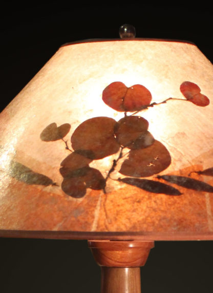 T362 Hand-turned Walnut and Banksia Pod Lamp by Bill Jabas, Round Mica Lampshade with Color Border and Natural Redbud Leaves and Seed Pods - lampshade detail
