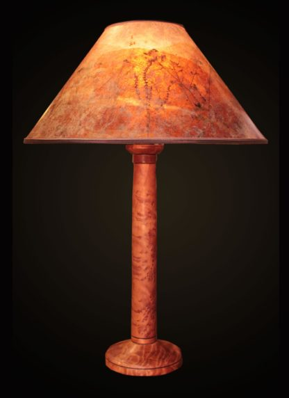 T363 Hand-turned Redwood Burl Lamp by Bill Jabas, Round Mica Lampshade with Red Grass and Anise