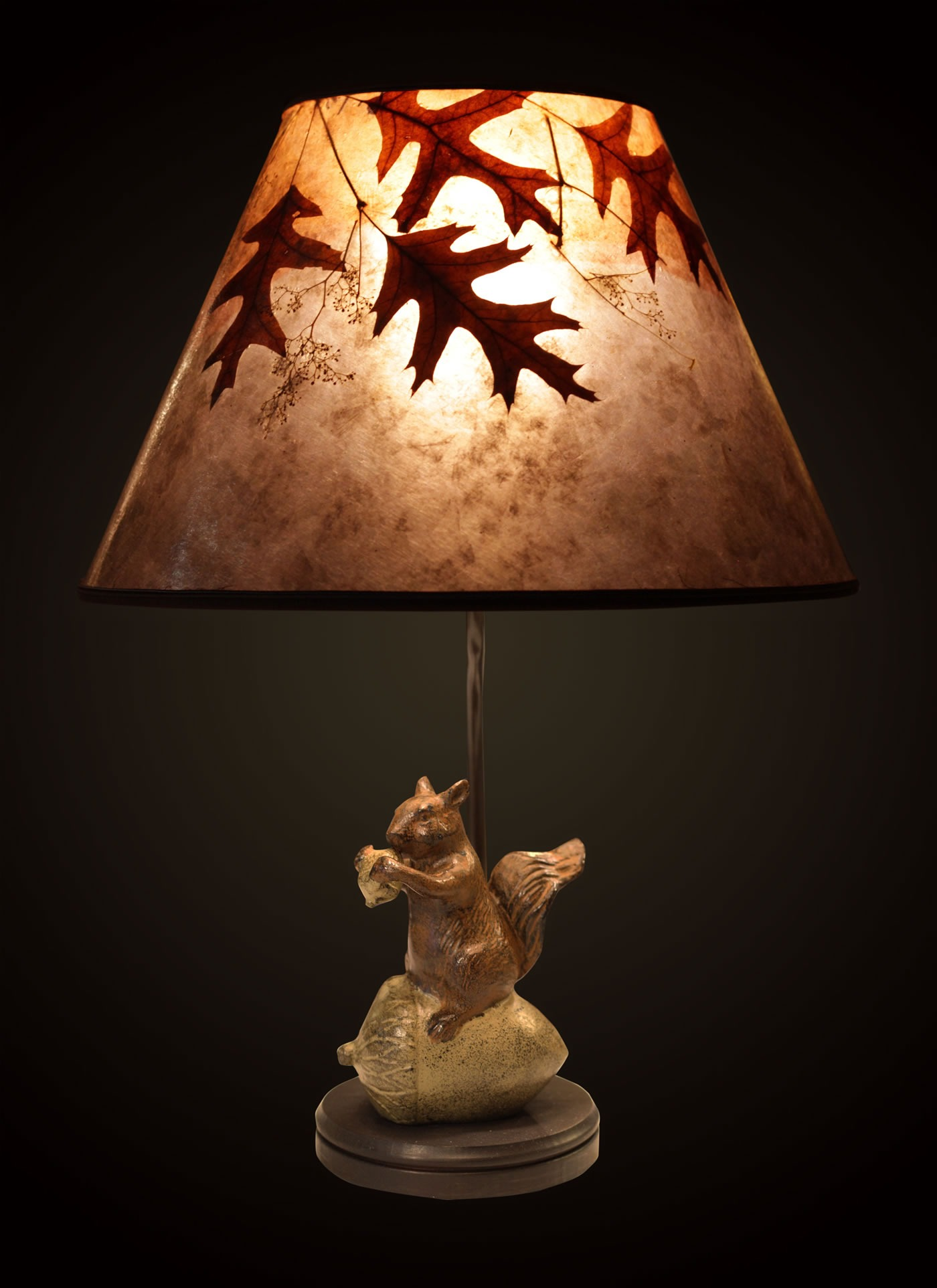 Metal Squirrel With Acorn Table Lamp Light Mica Shade