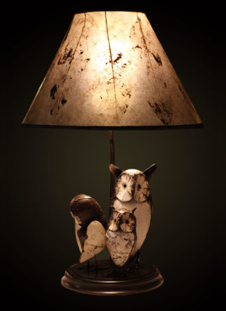 T368 Recycled Metal Owl Table Lamp