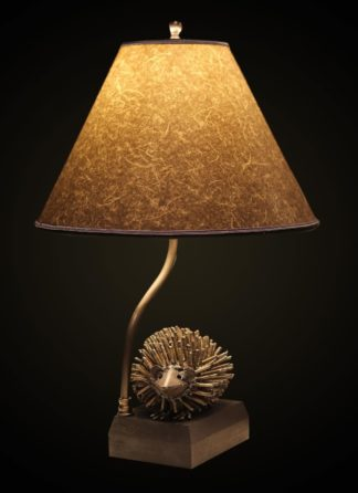 "T369 Recycled Metal Hedgehog Table Lamp with Round, Gray ""string paper"" Lampshade"