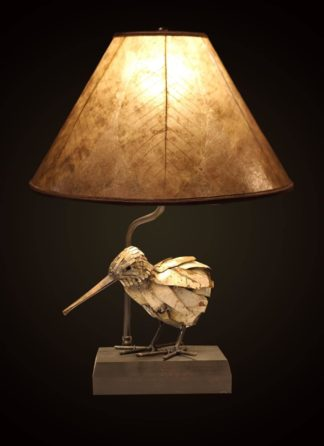 T371 Artfully Recycled Metal Kiwi table lamp, Light Mica Shade with Skeleton Leaves