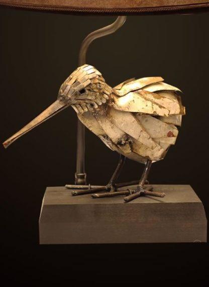 T371 Artfully Recycled Metal Kiwi table lamp base detail