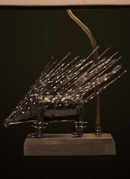 T372 Artfully Recycled Metal Porcupine table lamp base detail