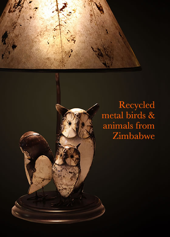 Lamps from Recycled metal birds and animals from Zimbabwe