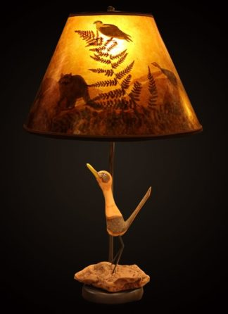 T375 Carved Roadrunner lamp with Mica lampshade