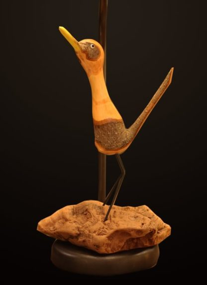 T375 Carved Roadrunner lamp base