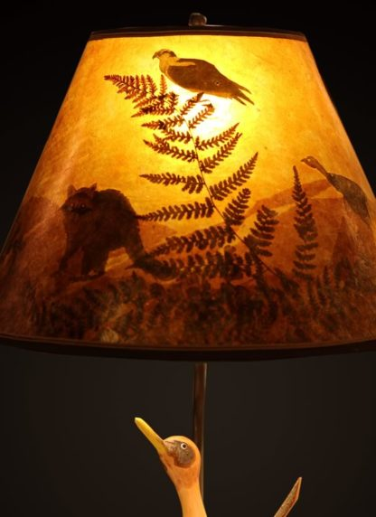 T375 Carved Roadrunner lamp - Mica lamp shade