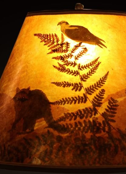 T375 Carved Roadrunner lamp - Mica lamp shade detail