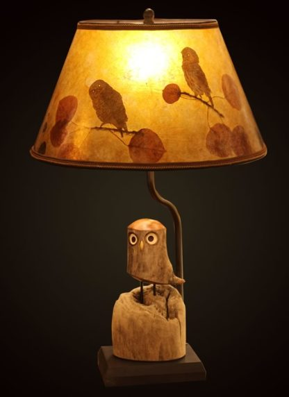 T376 Rustic Carved Owl Lamp, Mica Shade with Owls and Eucalyptus Leaves