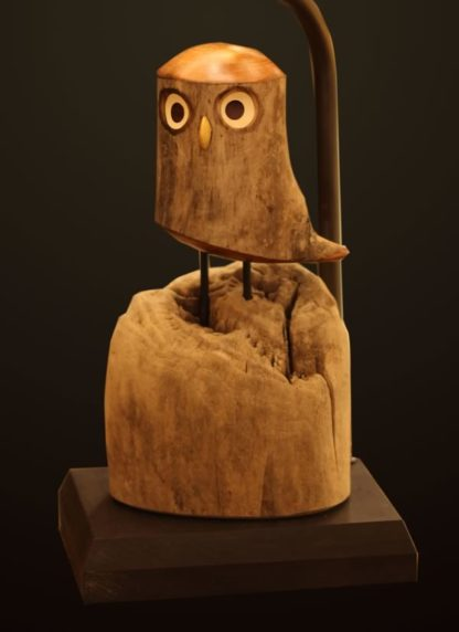 T376 Rustic Carved Owl Lamp base
