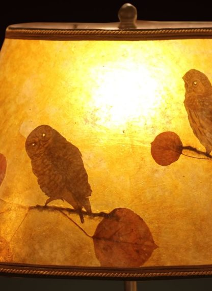 T376 Rustic Carved Owl Lamp - Mica Shade with Owls and Eucalyptus Leaves, detail