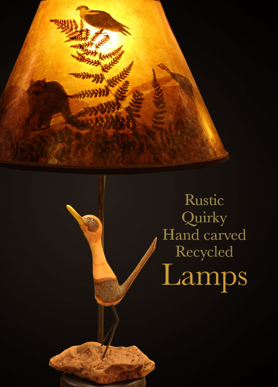 Rustic, Quirky, Hand carved, Recycled Lighting - T375 roadrunner table lamp