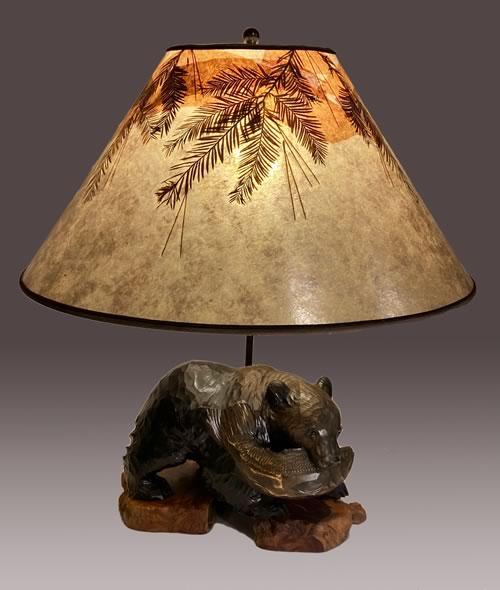 Hand-carved Ainu Bear lamp, 4C