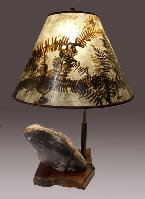 Thai Petrified Wood Frog lamp, Sale 4E