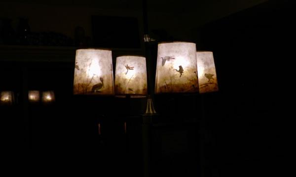 Sue Johnson's Benecia client lamp illuminated